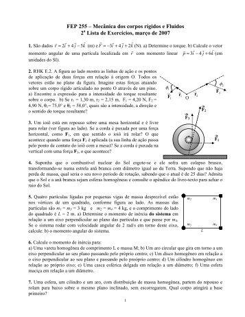 FEP 255 – Mecânica dos corpos rígidos e Fluidos 2 Lista de ... - Plato