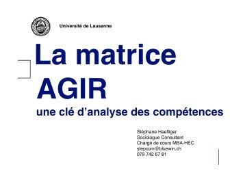 La Matrice AGIR - Stéphane Haefliger Sociologue
