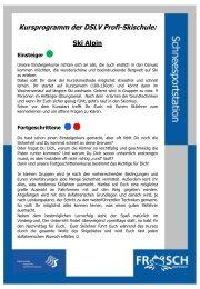 Kursprogramm der DSLV Profi-Skischule: - Frosch Sportreisen