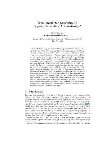 From Small-step Semantics to Big-step Semantics ... - Profs.info.uaic.ro