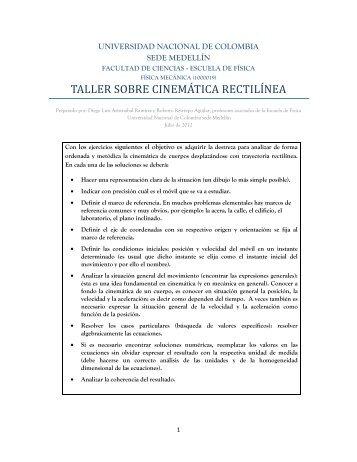 taller sobre cinemática rectilínea - Escuela de Física - Universidad ...