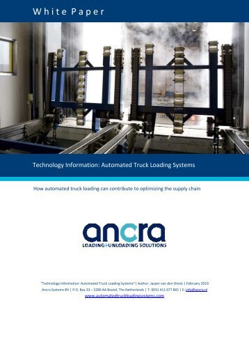Download White Paper (PDF) - ANCRA SYSTEMS