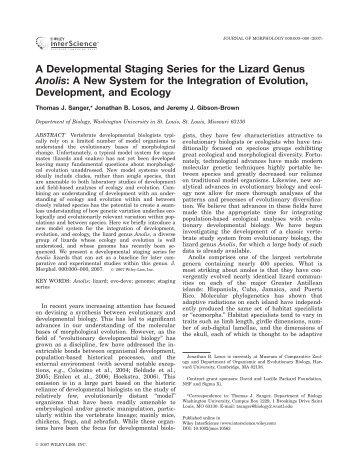 A developmental staging series for the lizard genus Anolis: A new ...