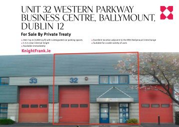 Unit 32 Western ParkWay BUsiness Centre, BallymoUnt, DUBlin 12