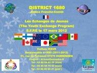 Les échanges de Jeunes - Rotary France District 1680, Alsace