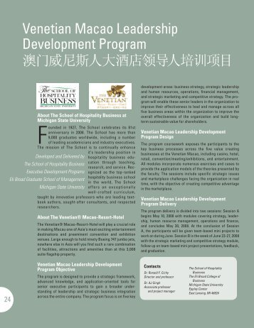 Venetian Macao Leadership Development Program - Office of China ...