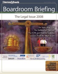 The Legal Issue 2008 - Directors & Boards