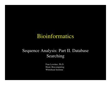 Slide show - Bioinformatics and Research Computing