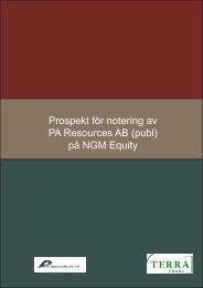 Notering på NGM-börsen - PA Resources