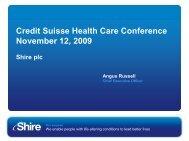 Credit Suisse Nov 12 2009 - Shire