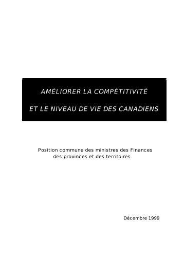 Améliorer le niveau de vie et la compétitivité des Canadiens