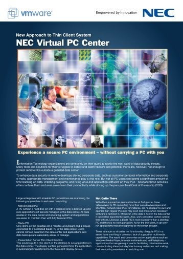 New Approach to Thin Client System NEC Virtual PC Center