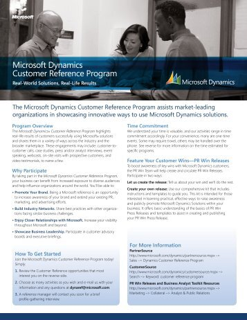 Microsoft Dynamics Customer Reference Program