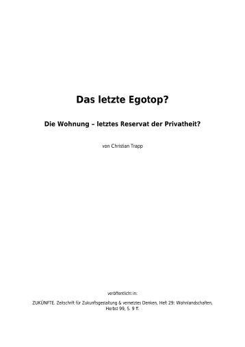 Das letzte Egotop? - Trapp und Partner