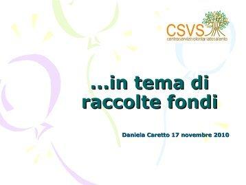 ...in tema di raccolte fondi - Centro Servizi Volontariato Salento