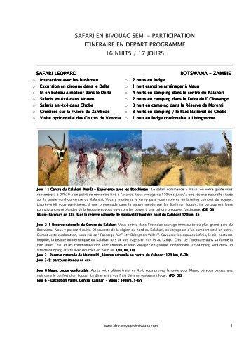 Itinéraire de 17 jours - Africa Voyages Botswana