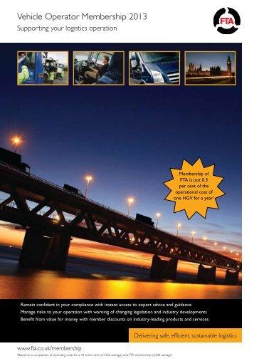 Vehicle Operator Membership 2013 - Freight Transport Association