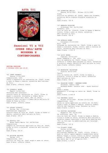 ASTA 501 Sessioni VI e VII OPERE DELL'ARTE MODERNA E ...