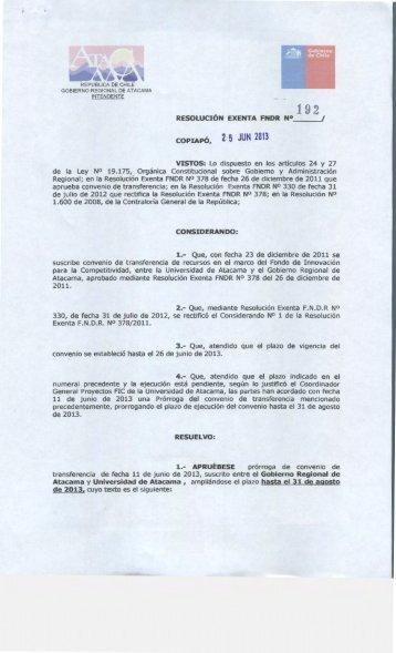 COPIAPÓ, 2 5 JUN 2013 - Gobierno Regional de Atacama