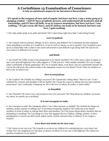 Examination of Conscience for Adults (printable)