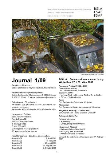 Journal 1/09 - BSLA