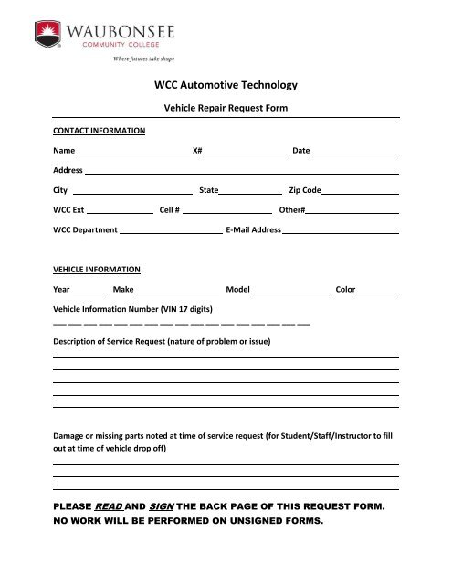 Request for Vehicle Repair form - Waubonsee Community College