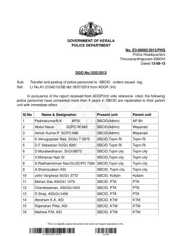 Transfer and Posting of Police Personnel to SBCID - Kerala Police