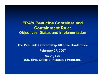 EPA's Pesticide Container and Containment Rule: - WSU Pesticide ...