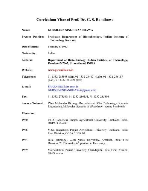 Curriculum Vitae Of Prof Dr G S Randhawa Indian Institute Of