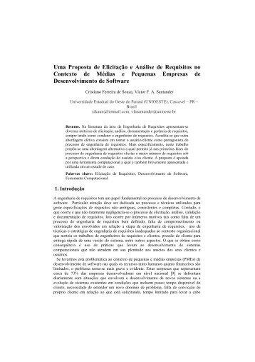 Uma Proposta de Elicitação e Análise de Requisitos no ... - WER