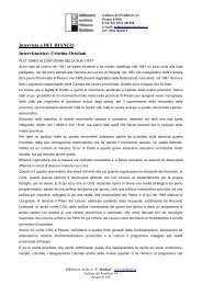 Intervista a DEL BIANCO Intervistatrice: Cristina Ortolani
