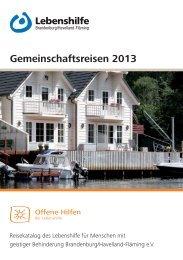 Reisekatalog 2013 - Lebenshilfe Potsdam - Potsdam Mittelmark