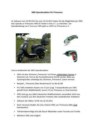 SMS-Spendenaktion für Primavera Im Zeitraum vom 10.09.2012 bis ...