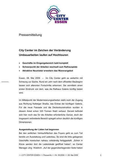 Pressemitteilung Downloaden Rathaus Galerie Essen