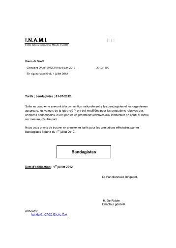 Tarifs des Bandagistes – A partir du 01/07/2012 - Inami