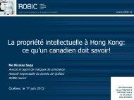 La propriété intellectuelle à Hong Kong - Québec International