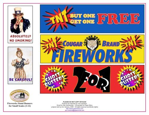 Small scales fireworks stand items - Paper Minis