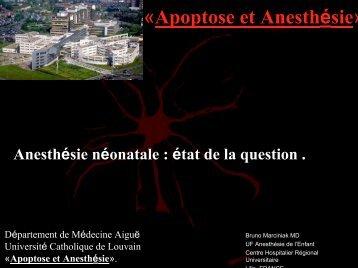 Dr. B. Marciniak : anesthésie néonatale, état de la question - virtanes