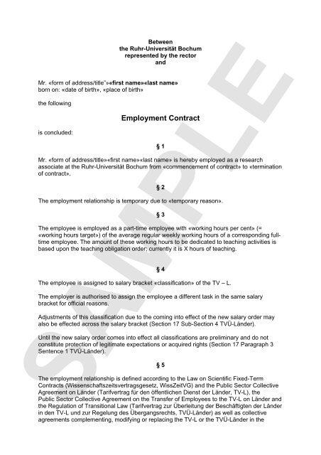 Employment Contract International Ruhr Universitat Bochum