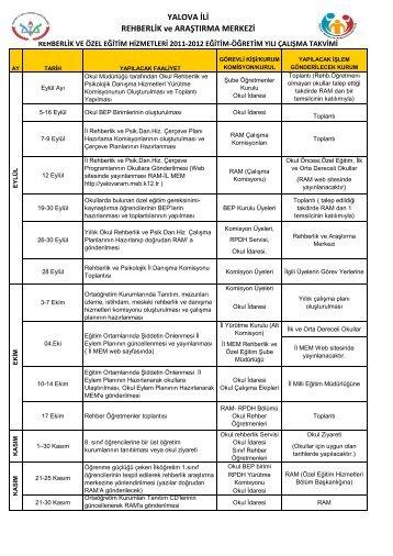 Rehberlik Hizmetleri Yıllık Çalısma Takvimi