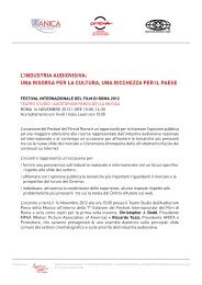 l'industria audiovisiva - Festival Internazionale del Film di Roma
