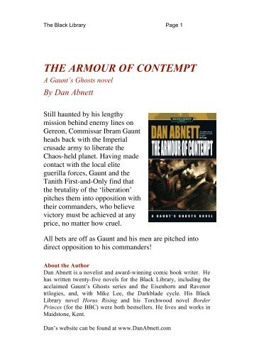 THE ARMOUR OF CONTEMPT - The Black Library