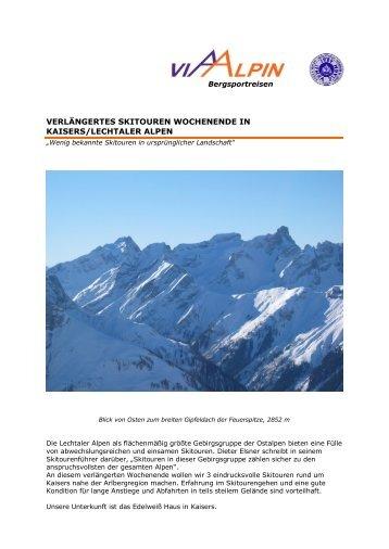 verlängertes skitouren wochenende in kaisers ... - Via-Alpin.de