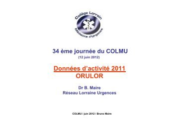 Activité des SAMU - COLMU