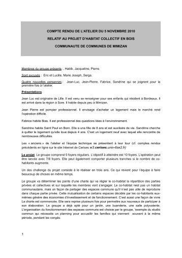 1 compte rendu de l'atelier du 5 novembre 2010 relatif au projet d ...