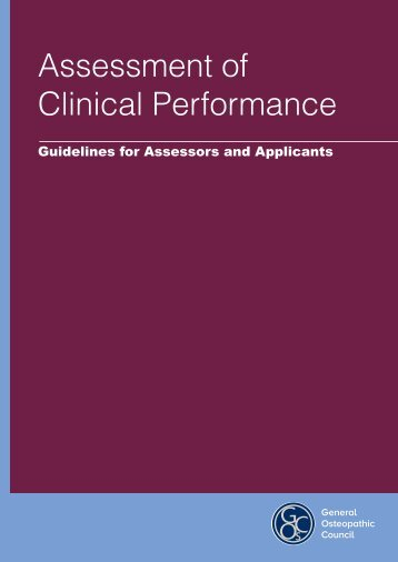 Assessment of clinical performance guidelines - General ...
