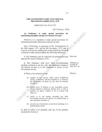 The Government Servants (Special Provisions) Ordinance, 1979
