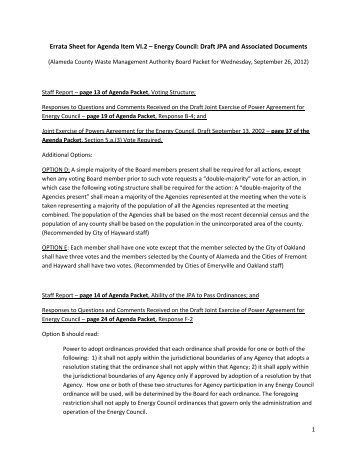Errata Sheet for Agenda Item VI.2 – Energy Council ... - StopWaste.org
