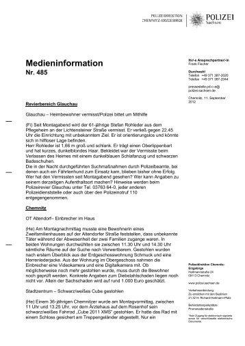 Medieninformation Nr. 485 - Polizei Sachsen