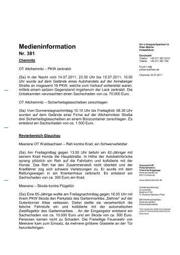 Medieninformation Nr. 381 - Polizei Sachsen